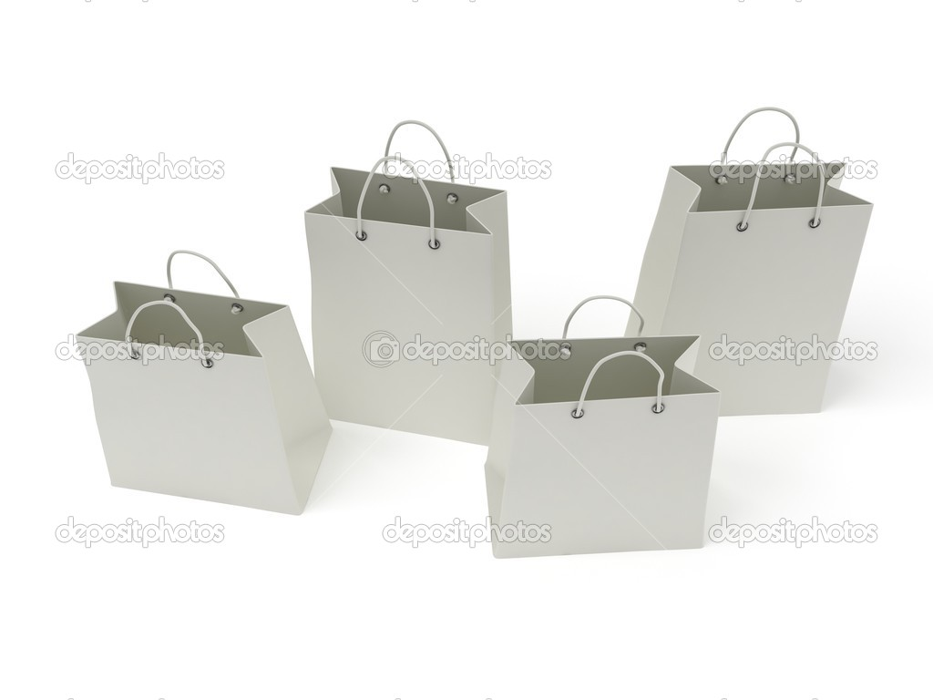 four classic white shopping bags (3d render) — Stock Photo