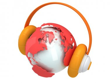 Earth planet globe with headphone. 3D render.