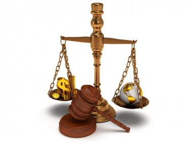 Scales justice with wooden gavel on white. Isolated 3D.