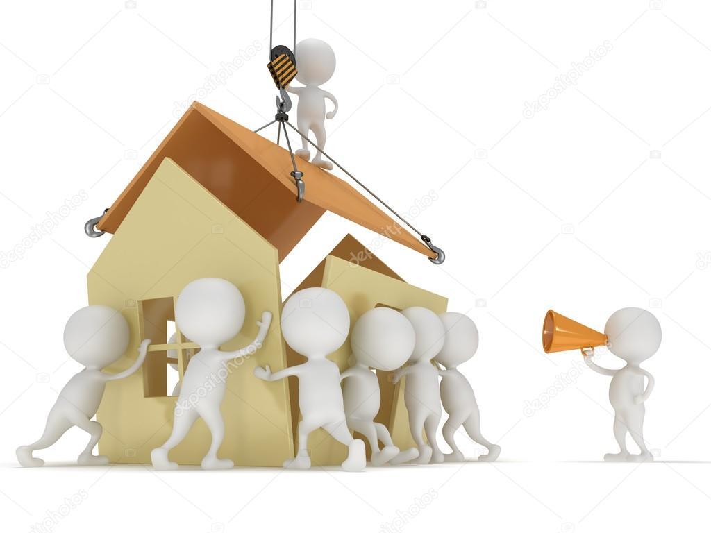 Personas 3d construcci n una casa fotos de stock newb1 for Costruendo su una casa di ranch