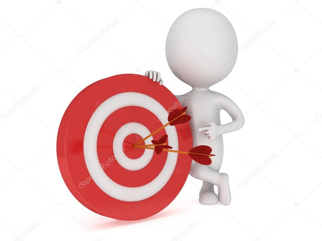 3D Man Stand Near Red Aim Target With Three Arrows Goal Luck Strategy Game Business Concept Photo By Newb1
