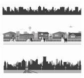 Fotografia case suburbane e skyline della città
