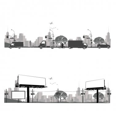 Vector illustration.Outdoor Billboard and city traffic