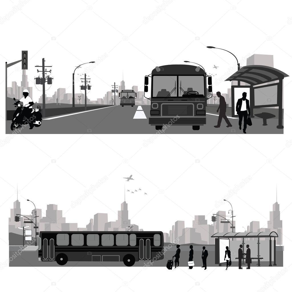 Vector Illustration: Bus station.Public transportation