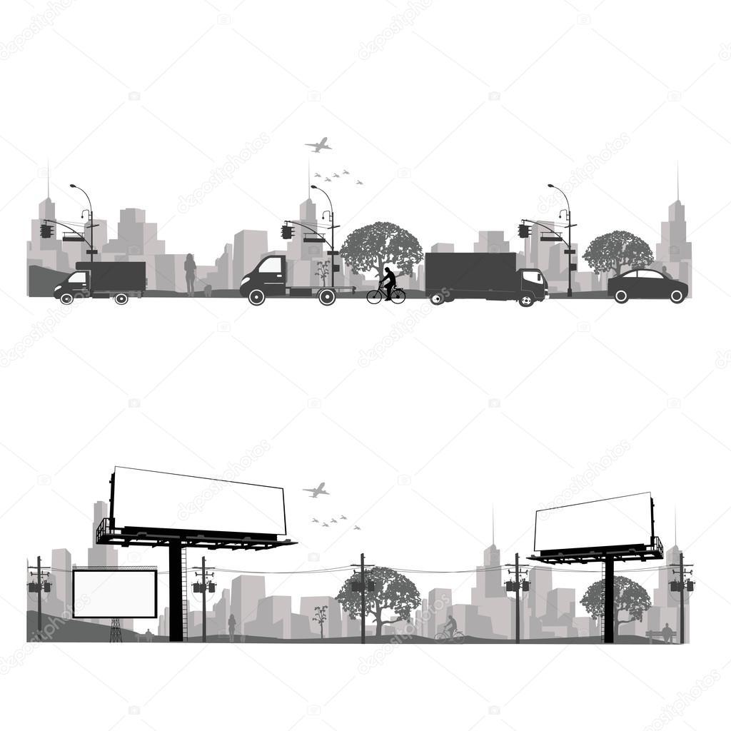 Vector illustration.Outdoor Billboard and city traffic