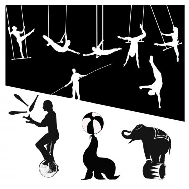 Vector silhouettes.Circus show