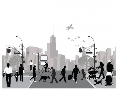 Vector illustration.Rush city street.Crowd of walking on a street.