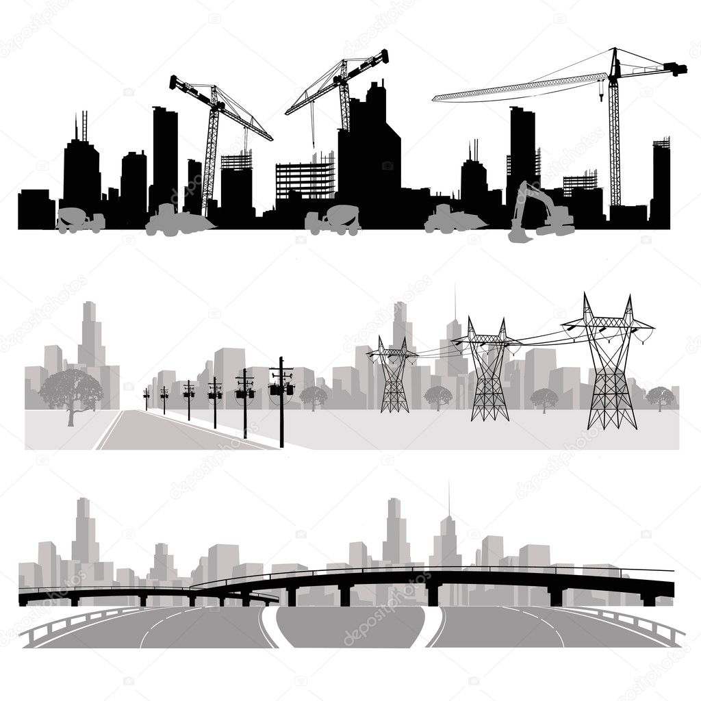Construction,energy distribution and highway silhouette