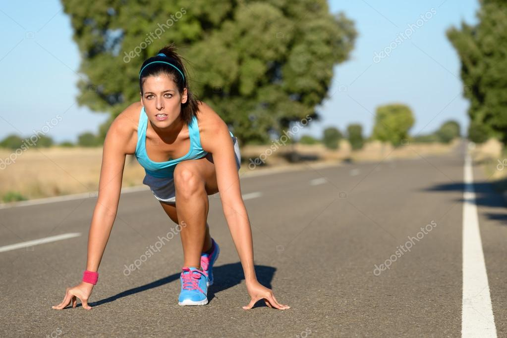 Athletic Woman Running In Countryside Road Fitness Female Runner Ready Start Line Pose Outdoors Summer Sprint Challenge Photo By Dirima