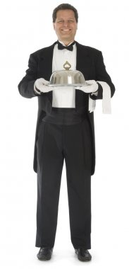 Waiter Standing on White