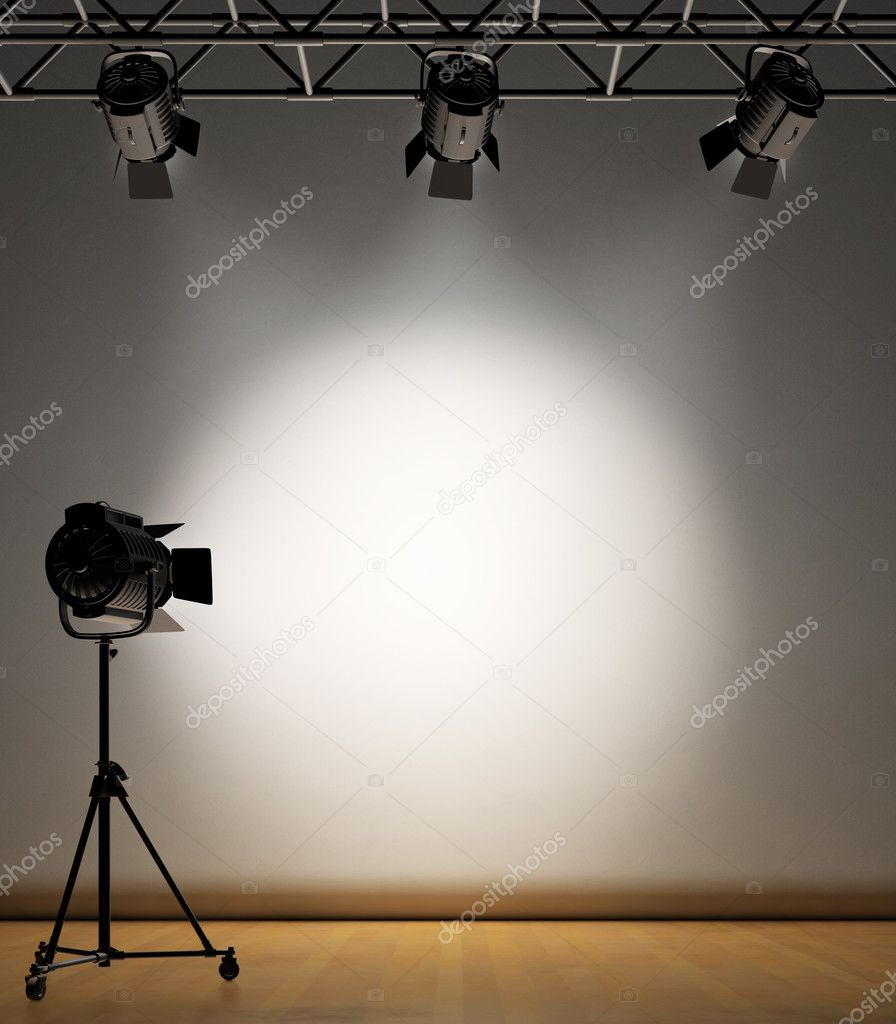 A vintage theater spotlight on a white background stock vector