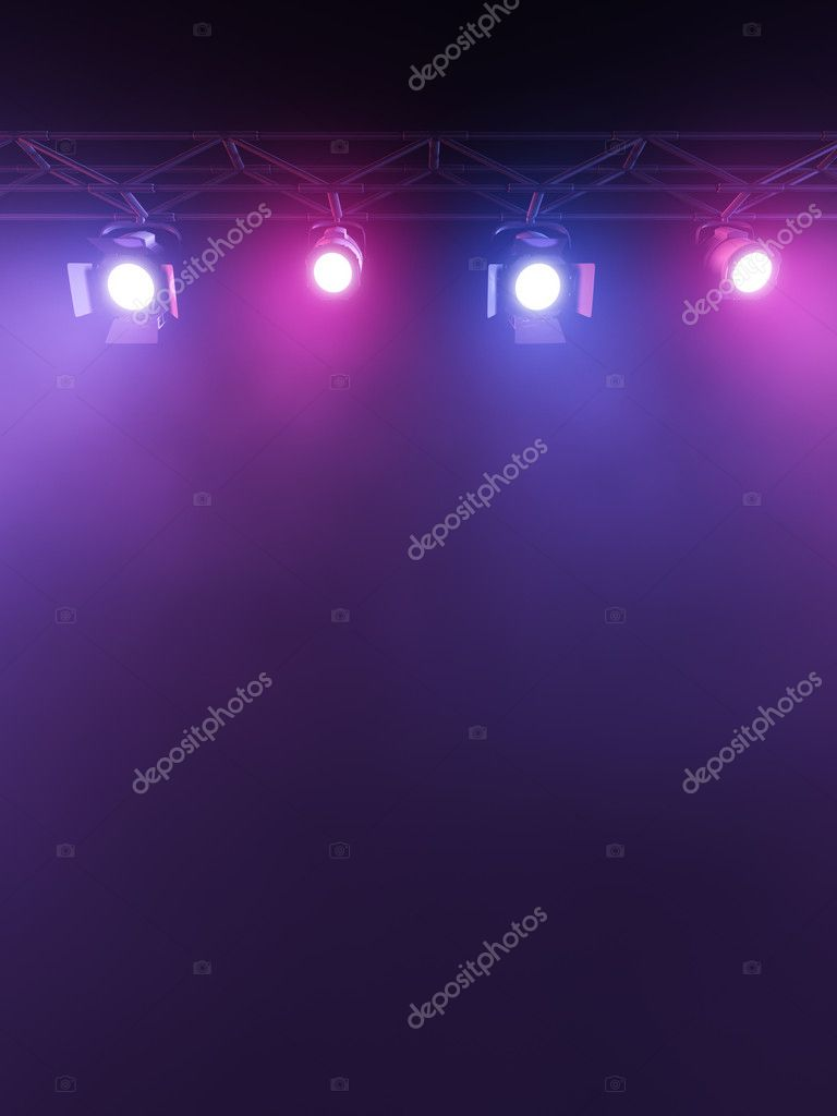 A Stage Light Rack with 3 RG&B Colored Spotlights Shining down towards the middle of the layout in a dark area. stock vector
