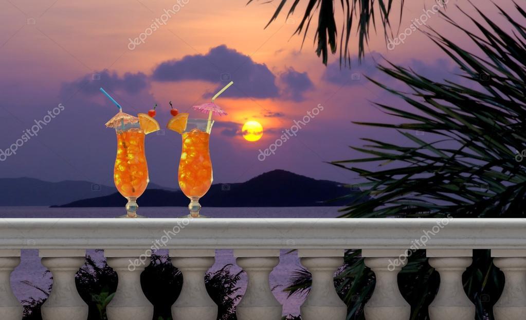 Drinks on a Tropical Balcony