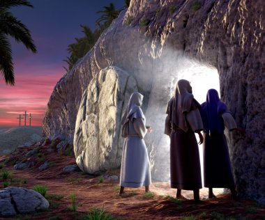 Mary Magdalene, Mary, & Salom walking up to the bright empty tomb of Jesus Christ early Sunday morning, Showing Golgotha in the background. stock vector