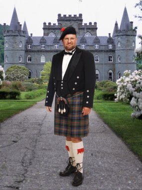 Scottish Man in front of Inverary Castle