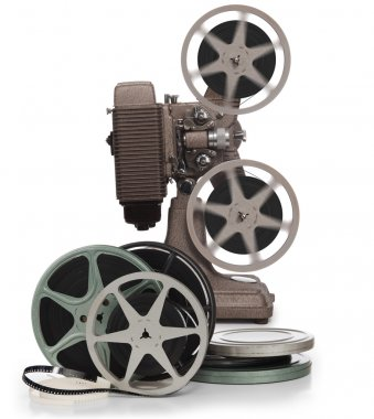 Movie film reels and projector on white