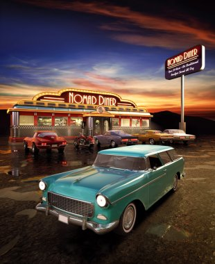 Retro American diner at dusk stock vector