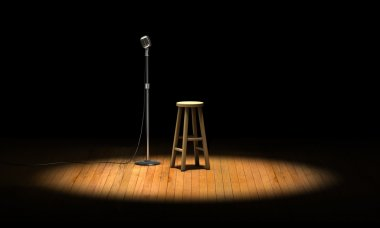 Microphone stand and wooden stool under a spotlight on a stage stock vector