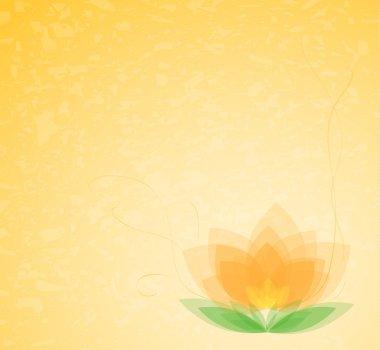 Vector background - beautiful flower on orange gradient clip art vector