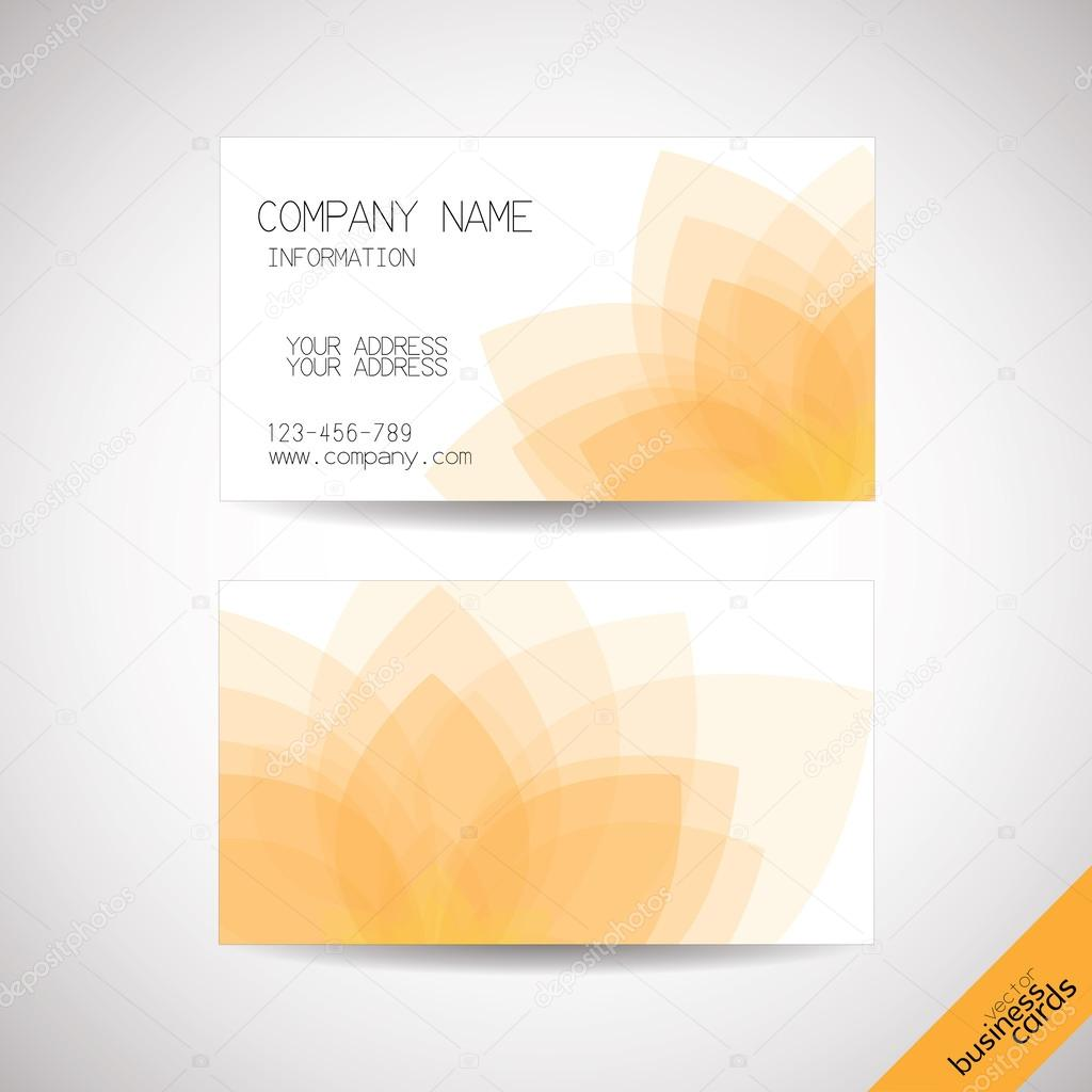 Vector business cards with abstract lotus background, front and
