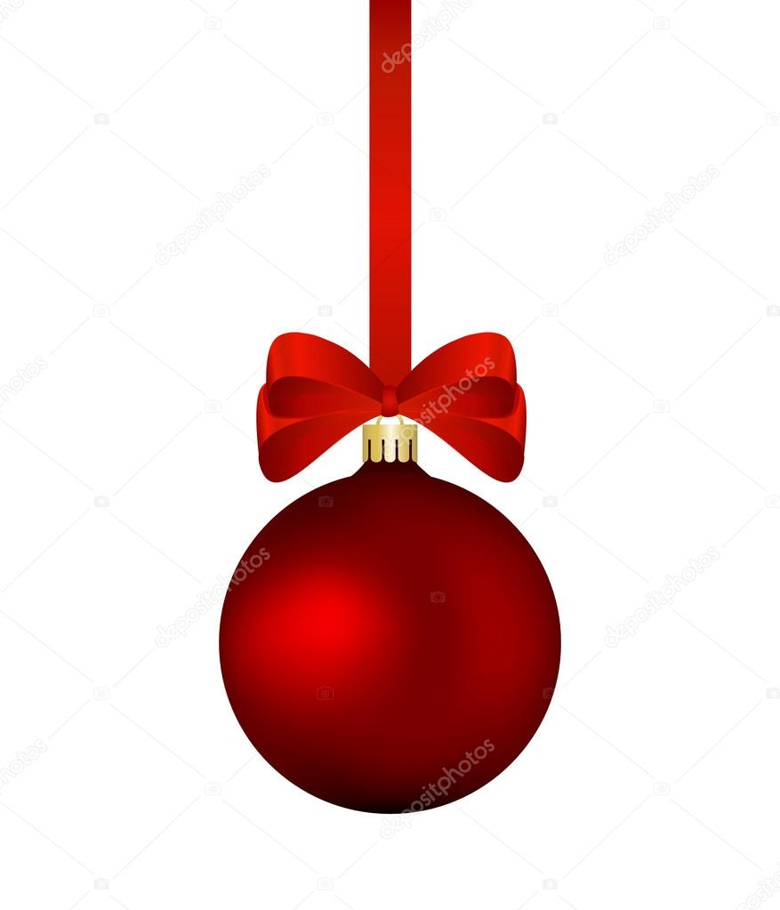 Red christmas bauble with red ribbon isolated — Stock Vector ...