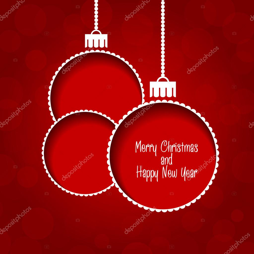 Christmas Background Baubles On Red With Merry Christmas Text