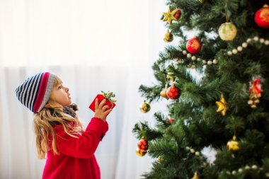 Girl near christmas tree, Merry christmas, happy New Year