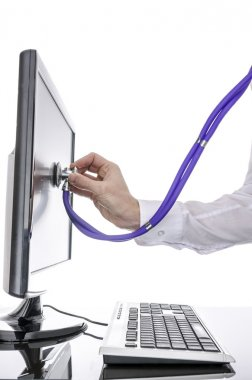 Testing a computer with stethoscope