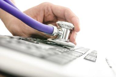 Testing keyboard with stethoscope