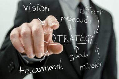 Closeup of businessman pointing to a virtual flow chart