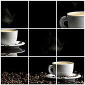 káva koláž černém pozadí