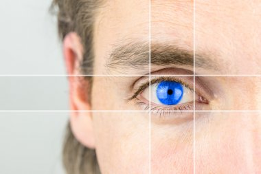 Young man with a vivid blue eye with parallel lines drawing your attention in a conceptual image of mental perception, visionary, intelligence or optics and eyesight. stock vector