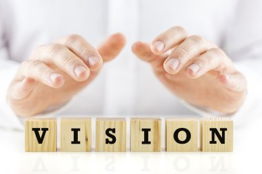 Conceptual image with the word Vision