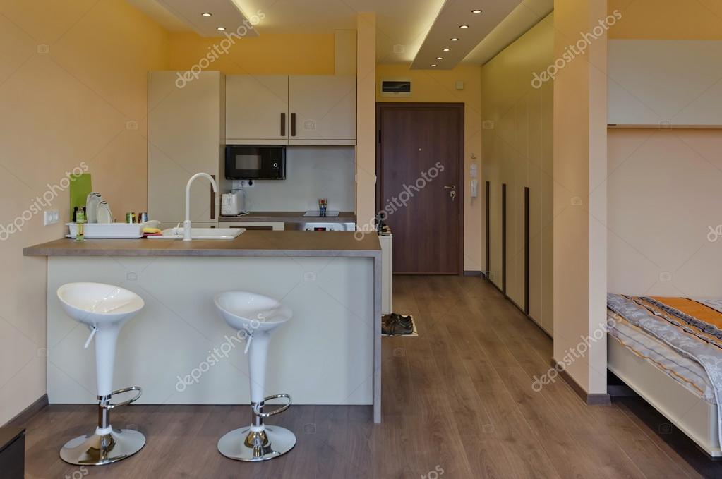 moderno soggiorno con angolo cottura — Foto Stock © intsysd #36251475