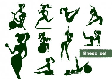 Woman fitness set. Vector illustration isolated on a white background clip art vector