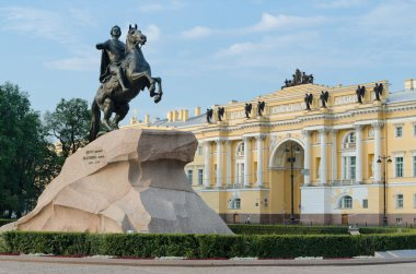 view of the statue of the Bronze Horseman in Saint Petersburg