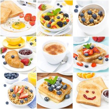 Breakfast collage of nine photos