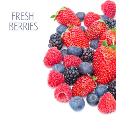 assorted of fresh berries isolated on a white background