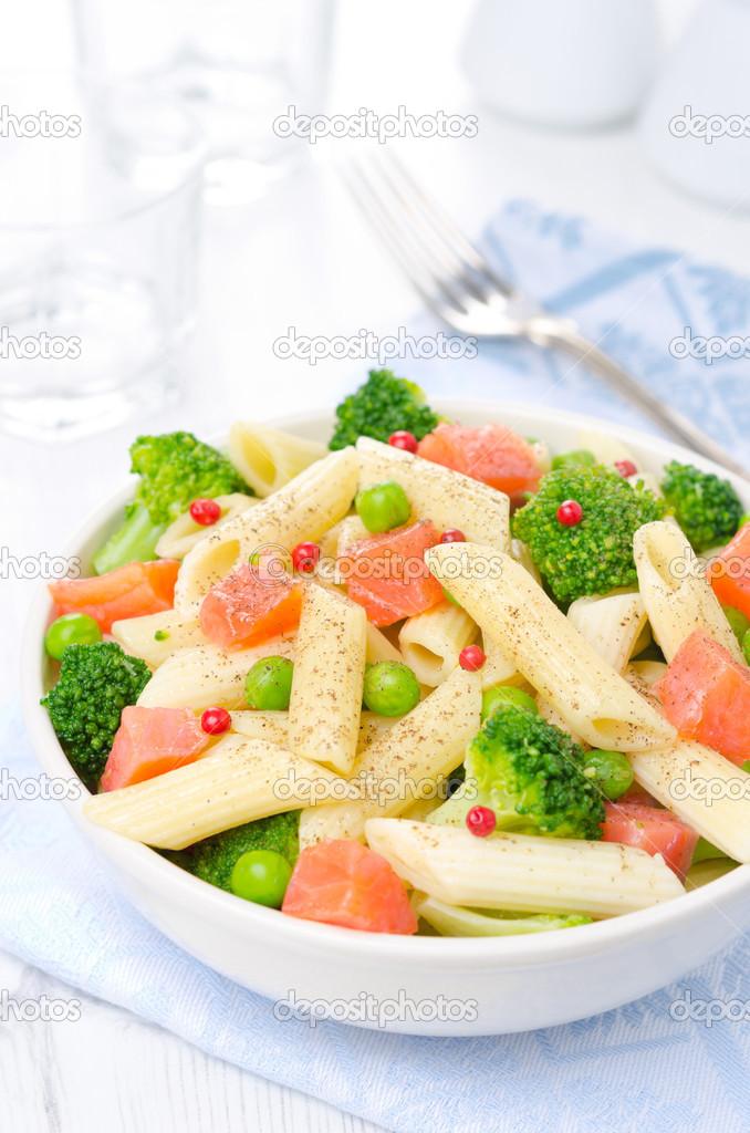 Salad With Pasta Smoked Salmon Broccoli And Green Peas Stock Photo 27426241