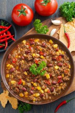 Mexican dish chili con carne, top view