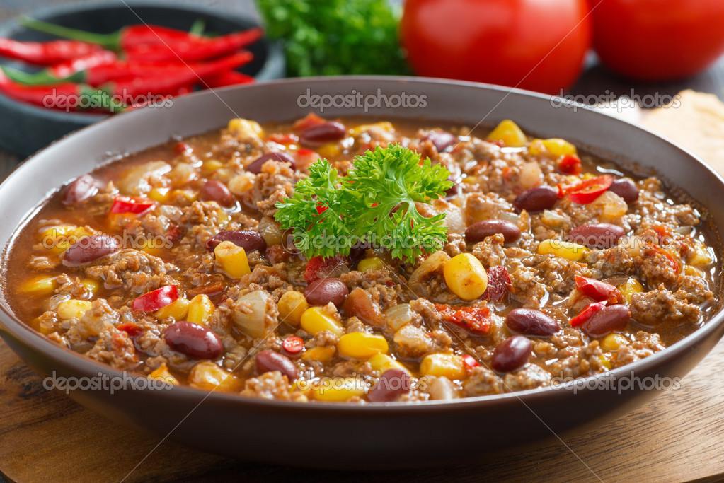 low priced 77e93 30056 Piatto messicano chili con carne, Close-up — Foto Stock ...