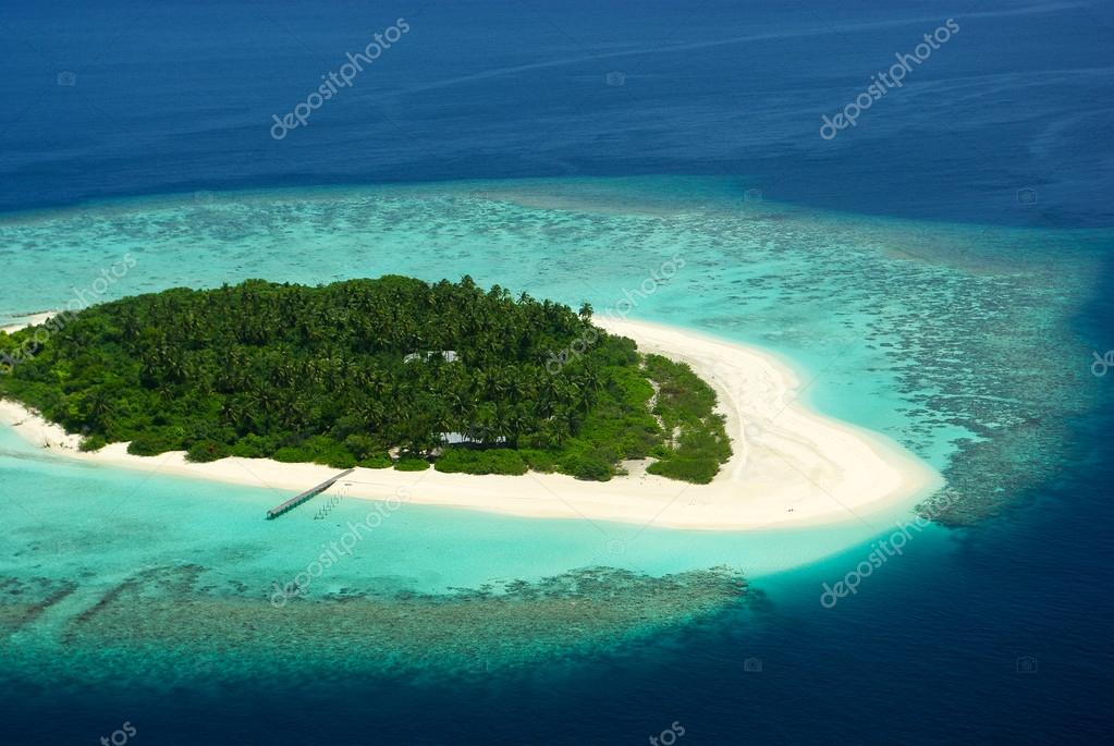 Tropical Maldivian island from above