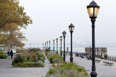New York seafront on foggy day