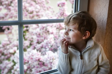 Adorable toddler boy looking out of the window
