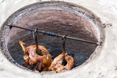 Grilled lamb meat made in earth oven