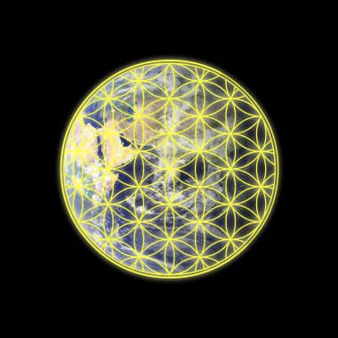 Flower of life on Eastern hemisphere of Earth