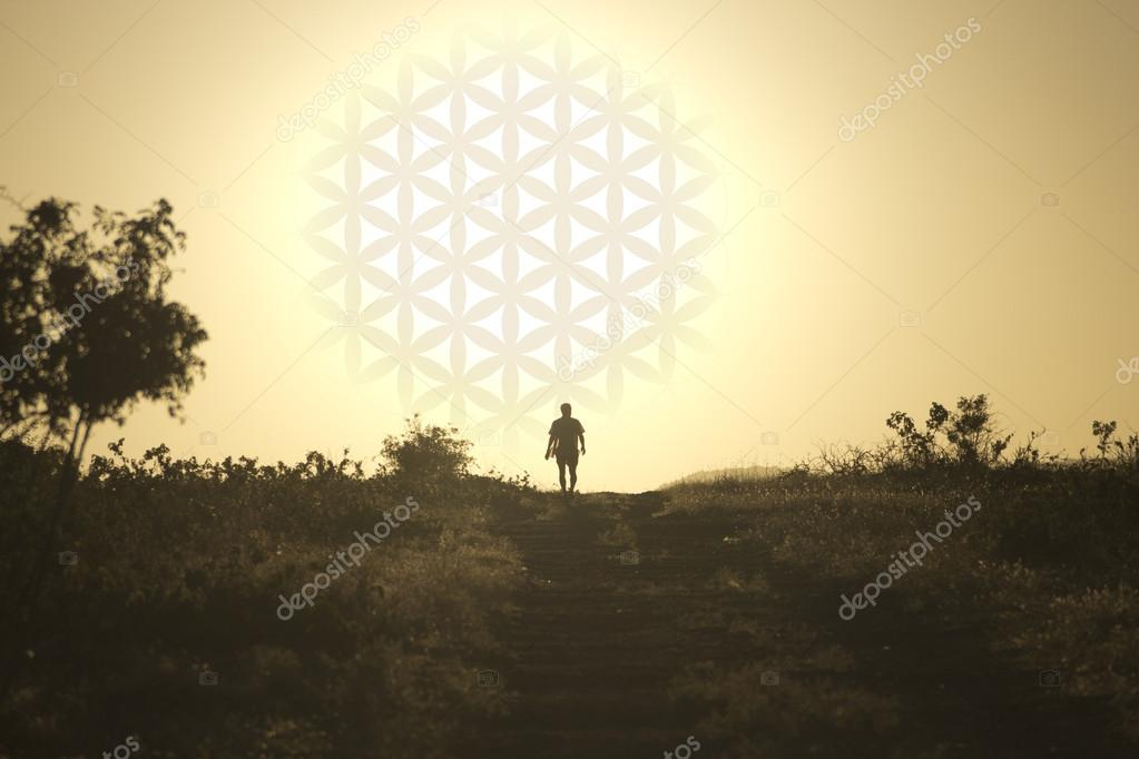 Man comes from the setting sun in the form of flower of life