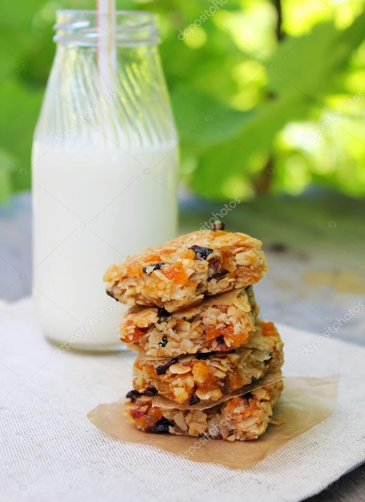 Stack of healthy and gluten free muesli or granola bars