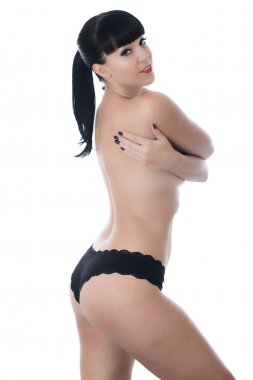Topless Young Woman Wearing Black Panties