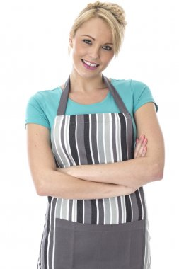 Young Woman Posing in a Kitchen Apron